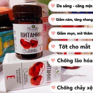 Viên uống Vitamin E Đỏ Của Nga Mirrolla 270mg Hộp 30 Viên bổ sung Vitamin giúp da trẻ đẹp chống lão hóa dưỡng trắng và căng mịn da móng tóc khỏe thumbnail