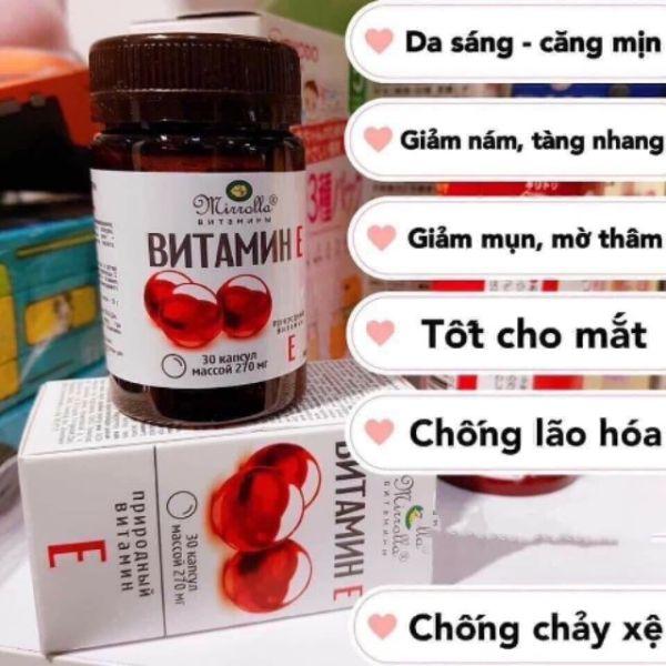 Viên uống Vitamin E Đỏ Của Nga Mirrolla 270mg Hộp 30 Viên bổ sung Vitamin giúp da trẻ đẹp chống lão hóa dưỡng trắng và căng mịn da móng tóc khỏe