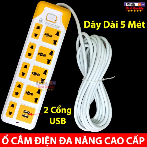 Ổ Điện Đa Năng - Ổ Cắm Điện Thông Minh 9 Phích Cắm - 2 Cổng Sạc USB Tiện Lợi CYX 315U