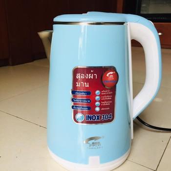 Ấm siêu tốc 2.5L JIPLAI Thái Lan 2 lớp inox và nhựa cách nhiệt an toàn - Bình đun nước 1800W tự ngắt tiết kiệm điện năng, có đèn led báo hiệu và vạch chia mức nước tiện lợi