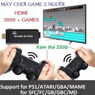 Bảng điều khiển trò chơi điện tử 4K HDMI USB với 3000+ trò chơi ,Máy chơi gamer Tay cầm không dây bluetooth ,Gamestick With 3000 Games Plus 2.4G Wireless Play Dongle HDMI 4k Console, controller gamepad lite thumbnail