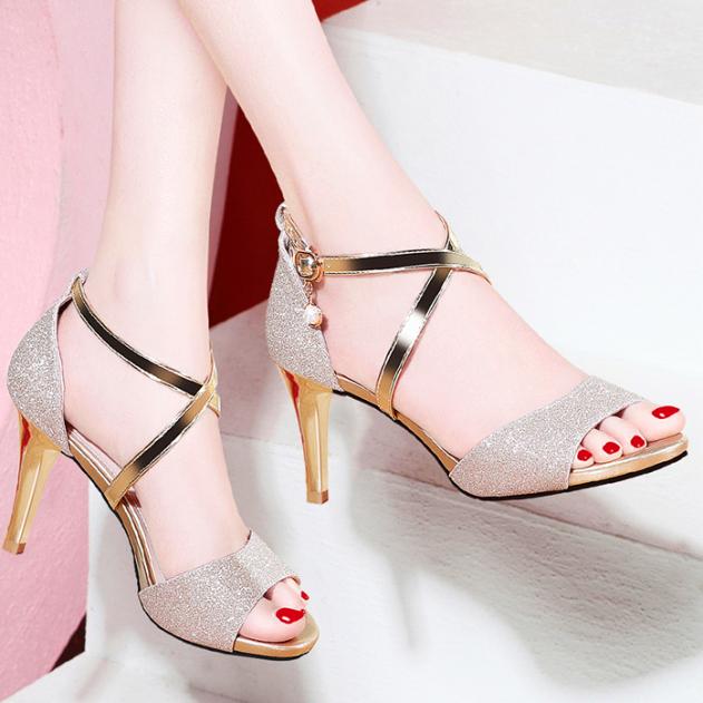 Giày cao gót kim sa hở mũi lắc vàng xinh xắn - CG81 giá rẻ