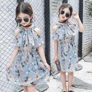 Vải Tuyn Trễ Vai Hình Bướm Cho Trẻ Em Thiếu Niên Trẻ Em Bé Gái Váy Công Chúa