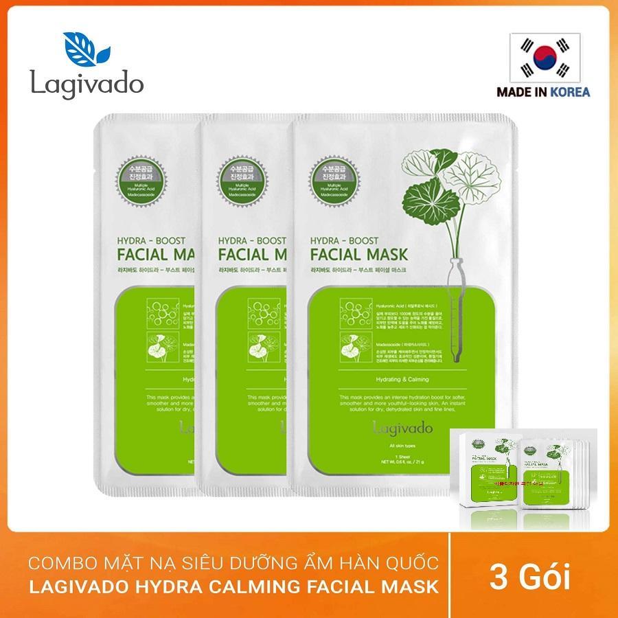 Com bo 03 mặt nạ dưỡng da siêu dưỡng ẩm, làm dịu da cho làn da căng bóng và mềm mịn Hàn Quốc Lagivado Hydra Calming Facial Mask