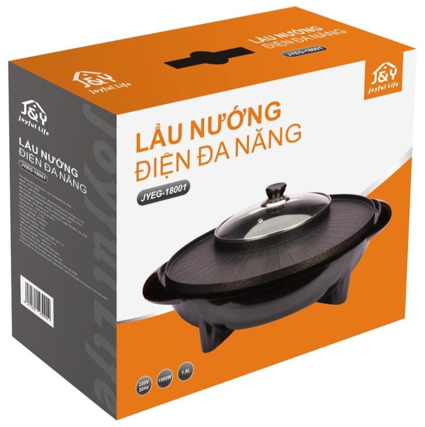 Lẩu điện + bếp nướng đa năng 1800W J&Y JYEG-18001