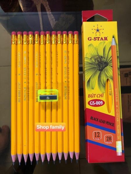 { ẢNH THẬT CÓ VIDEOS } Hộp 12 cây viết chì gỗ 2B hàng nhập khẩu cao cấp + tặng 1 chuốt viết chì, nét đậm và không chất độc hại an toàn tuyệt đối cho bé
