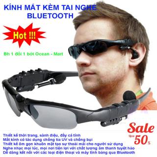 Kính mát kiêm tai nghe Bluetooth (Đen) + Tặng kèm bao da, Mắt kính Bluetooth Sport Grown Tech V4.1 AT120 (Đen) Mẫu Mới 2019 Kết Nối Bluetooth, Nghe Nhạc, Chống Bụi, Bảo Vệ Mắt Khỏi Tia Uv. BH 1 ĐỔI 1 thumbnail
