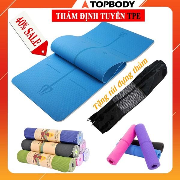 Thảm yoga, Gym định tuyến TPE cao cấp tặng kèm túi đựng - Thảm yoga chống trượt định tuyến T1