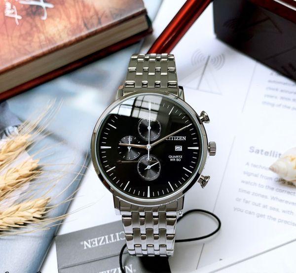 Đồng hồ Nam Citizen Chronograph AN3610-55E Size 41mm,Mặt đen,Lịch ngày-Máy Pin Quartz-Dây kim loại Demi vàng cao cấp