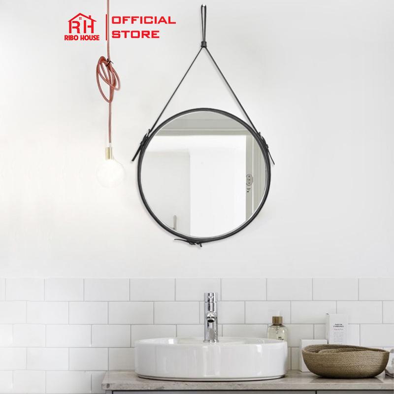 Gương treo tường dây da RIBO HOUSE mặt kính cường lực nội thất trang trí nhà cửa RIBO41