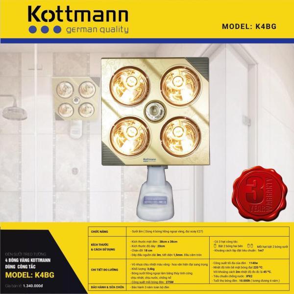 Bảng giá Đèn sưởi nhà tắm Kottmann 4 bóng K4B-G