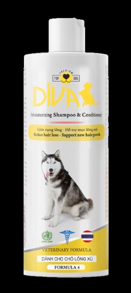 Sữa tắm chó dưỡng lông giảm rụng DIVA Vàng 400 ml