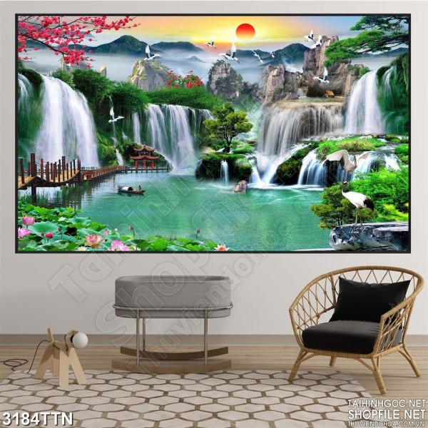 Tranh trang trí Sơn Thủy Hữu Tình Kích thước 120 x 80- Tranh trang trí, tranh treo tường, tranh treo phòng khách, tranh treo phòng ngủ, tranh treo tường 3D, tranh nghệ thuật, tranh phong thủy