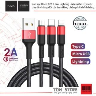 Cáp sạc Hoco X26 3 đầu Lighting - MicroUsb - Type C dây dù chống đứt dài 1m -Hàng phân phối chínhs hãng. 5.0 thumbnail