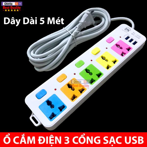 Bảng giá ( HÀNG LOẠI 1 ) Ổ Cắm Điện - Ổ Cắm Điện Thông Minh 5 Phích Cắm - 3 Cổng Sạc USB Chịu Tải 2500W - Ổ Cắm Điện Đa Năng Dây Dài 5 Mét CYX-335U