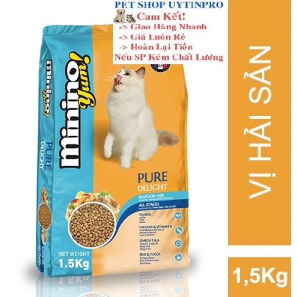 THỨC ĂN CHO MÈO Minino Yum dạng hạt Gói 1.5kg thương hiệu pháp