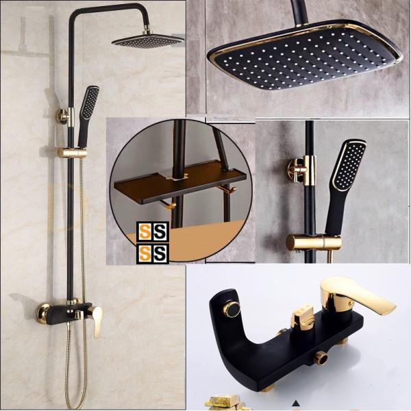Bảng giá [CHÍNH HÃNG] Bộ vòi sen cây tắm đứng nóng lạnh cao cấp nhập khẩu Hàn Quốc Sunshine S900 (Đen Vàng)