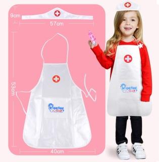 Áo bác sĩ cho bé có nón, tạp dề cho bé, đồ chơi y tế giáo dục cho trẻ từ 2 tuổi thumbnail