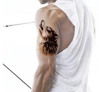 Hình xăm dán nam tatoo đầu sói 3D kích thước 15 x 21 cm - miếng dán hình xăm đẹp dành cho nam thumbnail