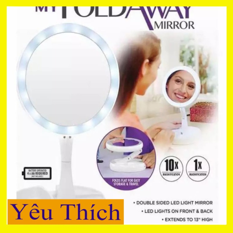 Gương trang điểm đèn Led -  Dùng điện 5v sạc điện thoại