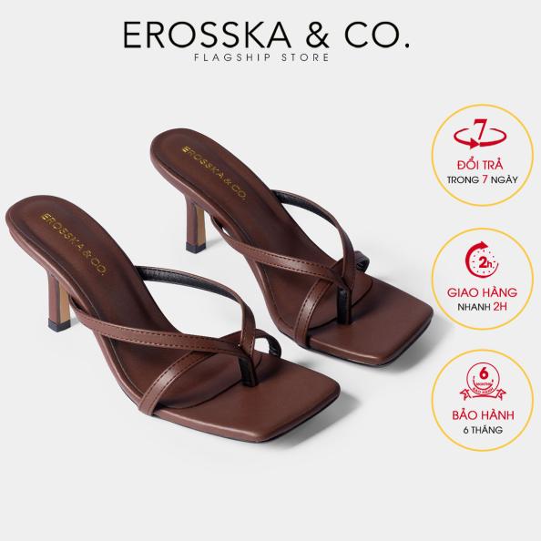 Dép cao gót thời trang Erosska mũi vuông kiểu dáng xỏ ngón phối dây quai mảnh gót nhọn cao 7cm màu bò - EM060 giá rẻ