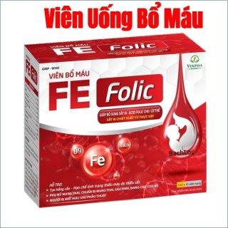 [hộp 100 viên] Viên uống Bổ máu Fe Folic Hỗ trợ giảm nguy cơ thiếu máu do thiếu sắt. Bổ sung sắt và acid folic cho cơ thể thumbnail