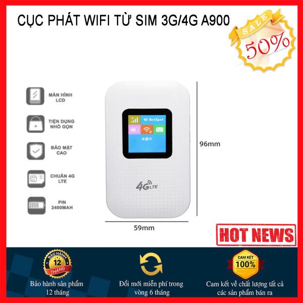 Bảng giá Bộ phát wifi 4G 5G ROUTER WIFI 4G A900, kết nối nhiều thiết bị, chạy bằng pin, sóng cực khỏe, Phát sóng wifi SIÊU TỐC 4G LTE chuẩn 300 Mbps cực Mạnh- Pin Khủng sài 10 tiếng- Siêu phẩm 2020 Cao Cấp, Bảo Hành 1 Đổi 1 Phong Vũ