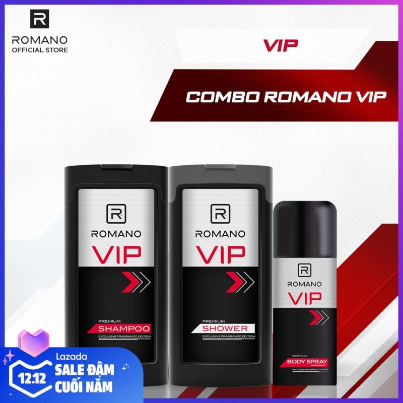 Combo Romano Vip: Dầu gội cao cấp 180gr + Sữa tắm cao cấp 180gr + Xịt toàn thân cao cấp 150ml