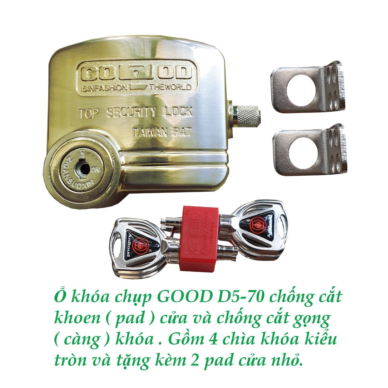 Ổ khóa chụp chống cắt khoen cửa - chống cắt gọng khóa GOOD D5-70 .Có hướng dẫn sử dụng bằng video.