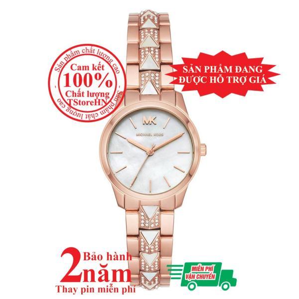 Đồng hồ nữ MK Petite Mercer MK6674 - Vỏ và dây màu Vàng hồng(Rose Gold), mặt đồng hồ màu trắng, dây nạm đá pha lê Swarovski, size 28mm - Item no: MK6674