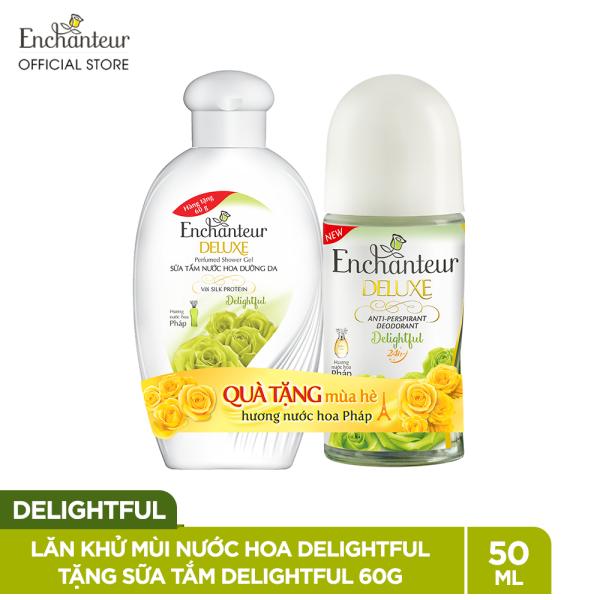 Lăn khử mùi nước hoa Enchanteur Delightful 50ml + Sữa tắm Delightful 60g - SMP 2021