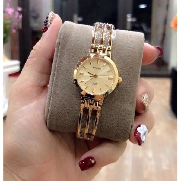 Nơi bán Đồng hồ nữ Halei máy Nhật mạ vàng dây kim loại