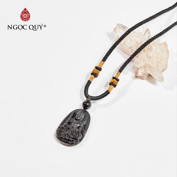 Mặt dây chuyền Phật bản mệnh đá obsidian Văn Thù Bồ Tát tuổi Mão 3.6 x 2.3cm (màu đen) - Ngọc Quý Gemstones