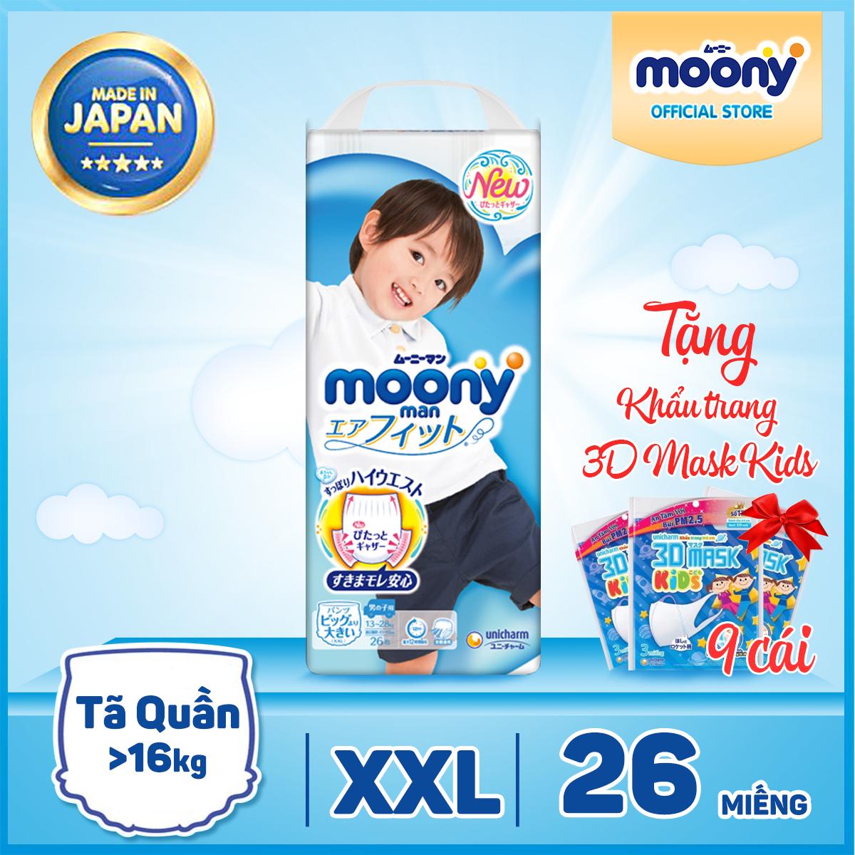 [TẶNG NGAY KHẨU TRANG EM BÉ] Tã/bỉm quần Moony XXL - 26 miếng dành cho bé trai