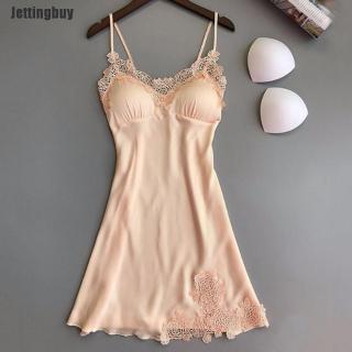 Jettingbuy Ấm Phụ Nữ Đồ Lót Gợi Cảm Lụa Váy Choàng Ren Ăn Mặc Váy Ngủ Kiểu Búp Bê Babydoll Ngủ thumbnail