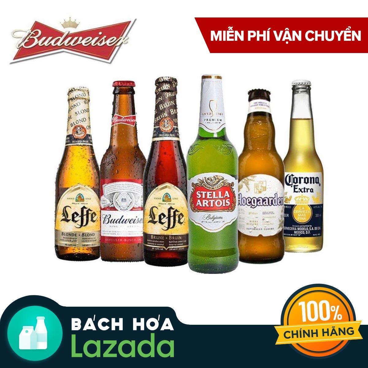 Bộ sưu tập bia cao cấp Beers of the World 6 chai - Budweiser, Leffe Blonde, Leffe Brune, Hoegaarden White, Stella Artois & Corona Extra Nhật Bản