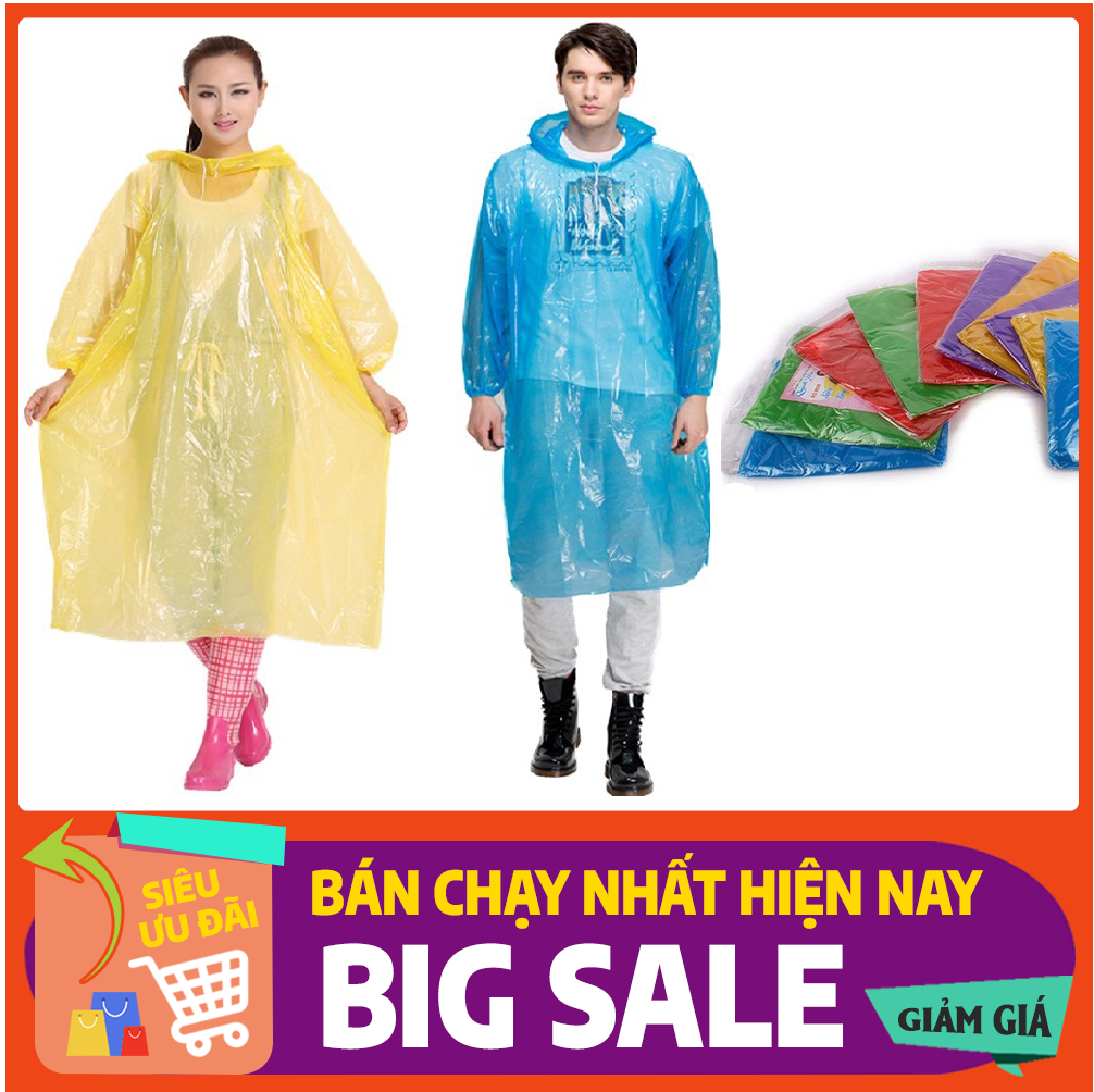 Áo mưa nilon mỏng dùng 1 lần siêu tiện lợi tiết kiệm kiểu dáng xuống có chun tay