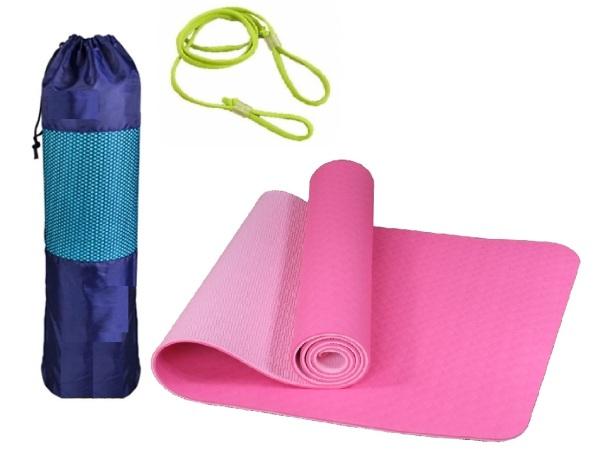 Bảng giá Thảm Tập Yoga TPE 2 Lớp 8mm Tặng Túi và Dây Buộc, Thảm Yoga miDoctor, Thảm Tập Gym, Thảm Tập Thể Dục Tại Nhà