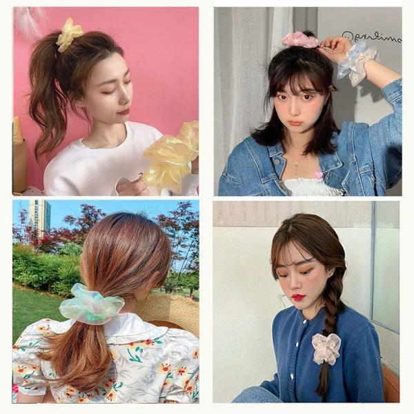 Dây buộc tóc Scrunchies Hàn Quốc Ji bóng nhiều màu lưới phụ kiện tóc CT8 giá rẻ