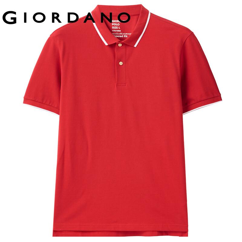 Áo PoLo nam Lycra căng cotton đính hạt tay áo ngắn cổ bẻ tương phản kiểu dáng trẻ trung co giãn tốt GIORDANO 01011381 FREESHIP 01010381