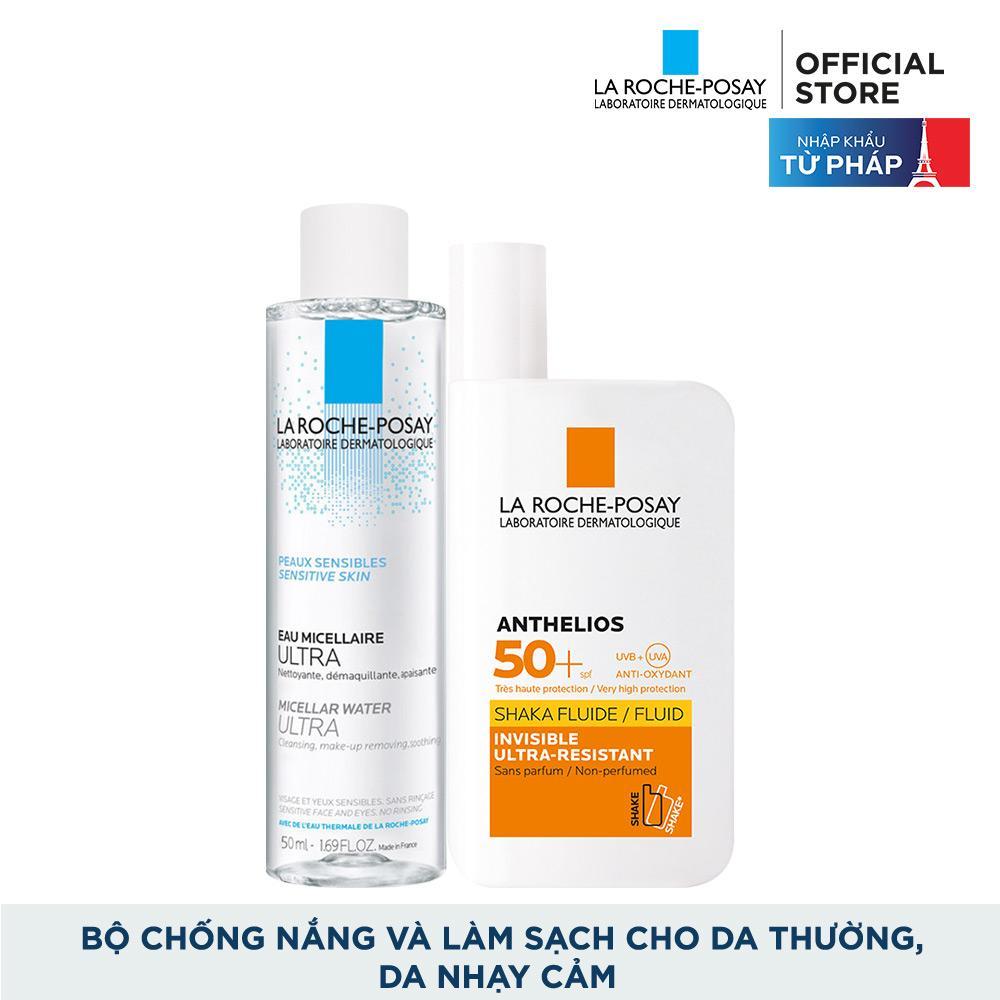 Bộ chống nắng không nhờn rít La Roche-Posay Anthelios Shaka Fluid 50ml & nước tẩy trang cho da nhạy cảm 50ml tốt nhất