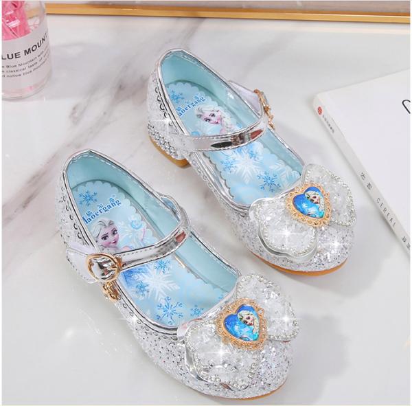 Giày công chúa Elsa bé gái cao gót nơ tim đính đá từ 3 - 13 tuổi