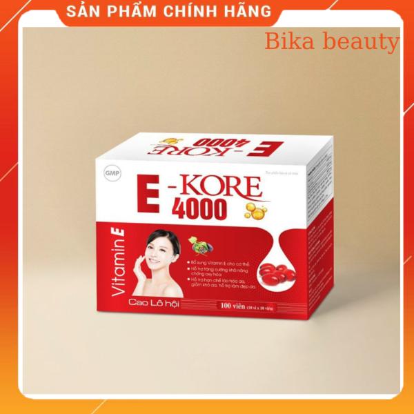 Vitamin E Kore 4000 chiết xuất Cao lô hội- Ngăn ngừa lão hóa, cấp ẩm da vượt trội, giúp da sáng mịn- Hộp 30 viên giá rẻ