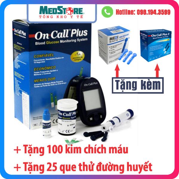Máy Đo Đường Huyết On Call Plus - TBYT Medstore - Máy Đo Tiểu Đường OnCall Plus . Tặng 25 que thử và 100 kim chích máu