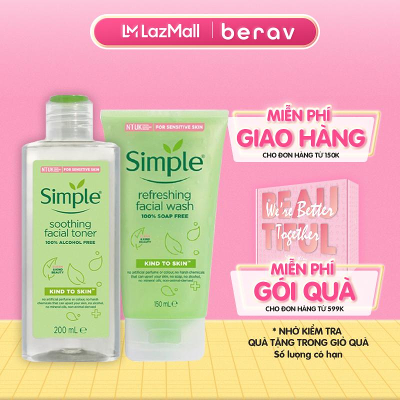 Combo SIMPLE NƯỚC HOA HỒNG  Kind To Skin Soothing Facial Toner 200ml + SỮA RỬA MẶT Dịu Nhẹ Refreshing Facial Wash 150ml giá rẻ