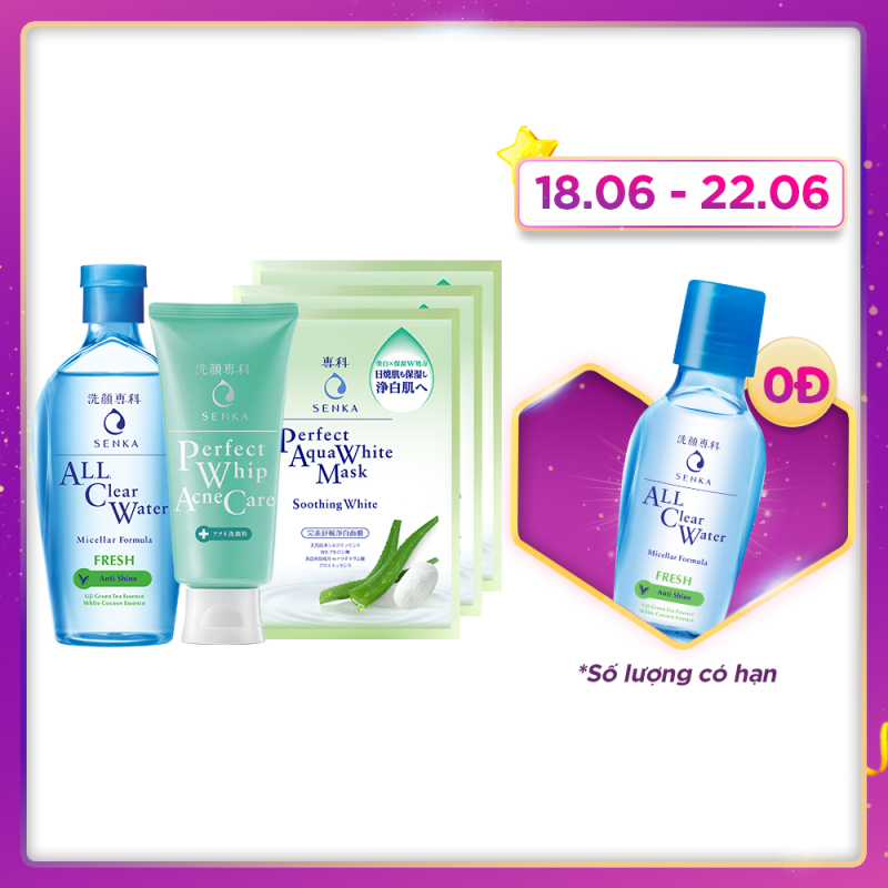 Bộ sản phẩm dành cho da mụn Senka (A.L.L Clear Water Fresh 230ml+SRM Acne Care 100g+Mặt nạ soothing 25mlx3) giá rẻ