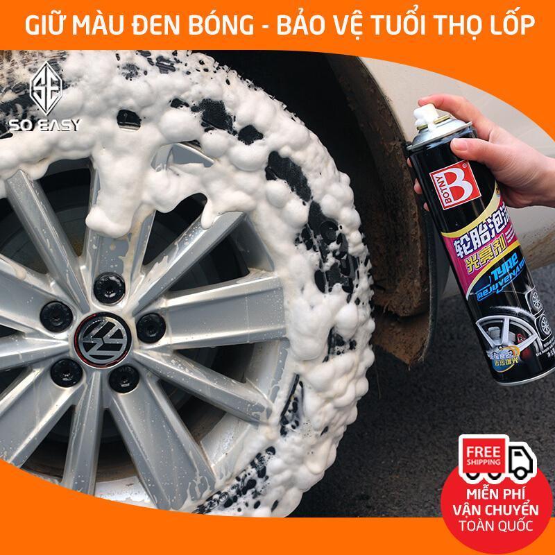 Dung dịch vệ sinh lốp xe, xịt tạo bọt làm sạch, bảo dưỡng mâm, vành bánh ô tô, xe hơi dưỡng đen bóng và chăm sóc bảo vệ lốp dung tích 680ml_B-1107