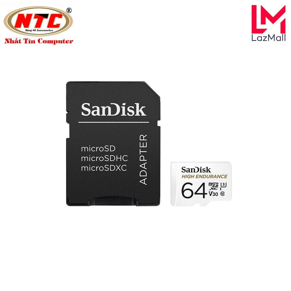 Thẻ nhớ microSDXC Sandisk High Endurance 64GB V30 UHS-I U3 4K R100MB/s W40MB/s chuyên camera quay đến 5,000 giờ (Trắng)