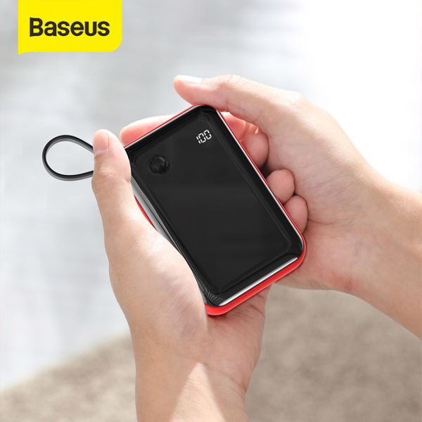 Pin sạc dự phòng Baseus Mini 10000mAh Power Bank 15W Fast Charging Built-in USB C Cable Power Bank For Smartphone Portable Phone Charger