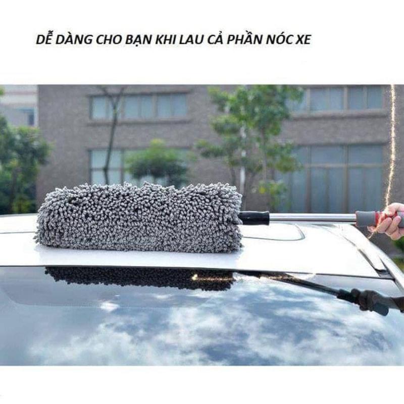Cây chổi lau bụi bằng sợi dầu, cán dài kim loại co rút được rửa xe, dọn nội thất cho xe hơi, xe otô, xe tải sạch sẽ - chổi nano